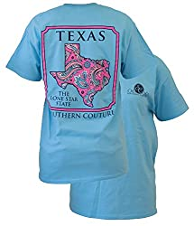 Southern Couture Womens Texas Paisley Short-Sleeve Tee Shirt