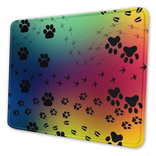 CLERO & - Alfombrilla de ratón con diseño de huellas de arcoíris y colores, negro, 7 x 8.6 in