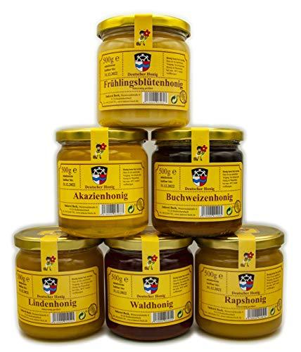 ImkereiBeck® - Echter Deutscher Imkerhonig im Vorteilspack/Geschenkset - Honig vom Imker aus Bayern (3x cremig & 3x flüssig, 6 x 500g)