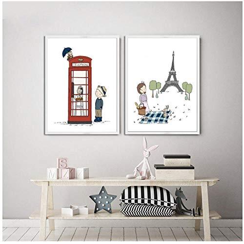 xwwnzdq Nordic cartoon Travel Nursery canvas schilderij Laat ons de wereld zien affiches en prints Parijs en Londen kinderkamer muurkunst 40x60cmx2 niet-ingelijst