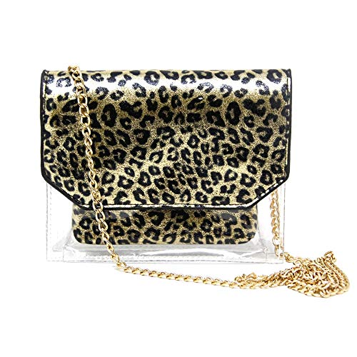"""Size : 7.25"""" W x 6""""H x 1.25""""D Outer Bag / 5.75""""W x 4.25""""H x 1""""D Inner Pouch / 50"""" Long Chain Strap Material : PVC and PU This unique and beautiful purse is made with heavy duty clear PVC. It can hold any small accessories such as keys, lip glosses, c..."""