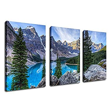 Canvas Wall Art Mountain and Lake Canvas Painting Nature Pictures 30  x 20  x 3 Pieces Large Moraine Lake Canvas Art Glacially Fed Lake in Banff National Park Framed Ready to Hang for Home Decoration