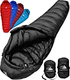 Hyke & Byke Quandary 15 Degree F 650 Fill Power Hydrophobic Down Sleeping Bag with ClusterLoft Base - Ultra Lightweight 3 Season Mens and Womens Mummy Bag Designed for Backpacking