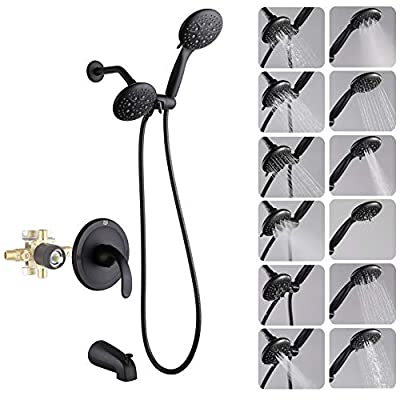Black Dual-Function Shower Faucet Set with Tub Spout Bathroom High Pressure 35 Setting Dual 2 in 1 Shower System with Handheld Shower Head 3-way Water Diverter Shower Trim Kit with Rough In Valve