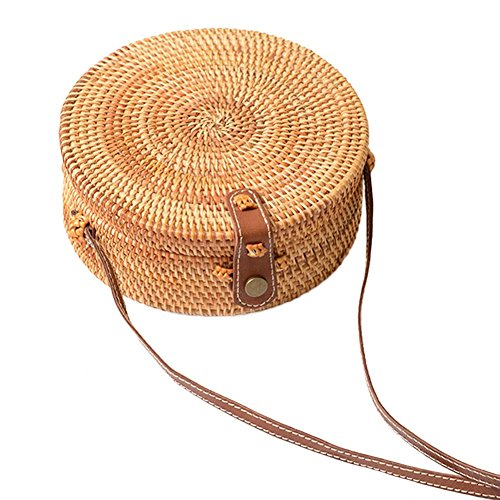 Purchase never say never Handwoven Round Rattan Bag Crossbody Bags Handmade Clutch Woven Handbag for...