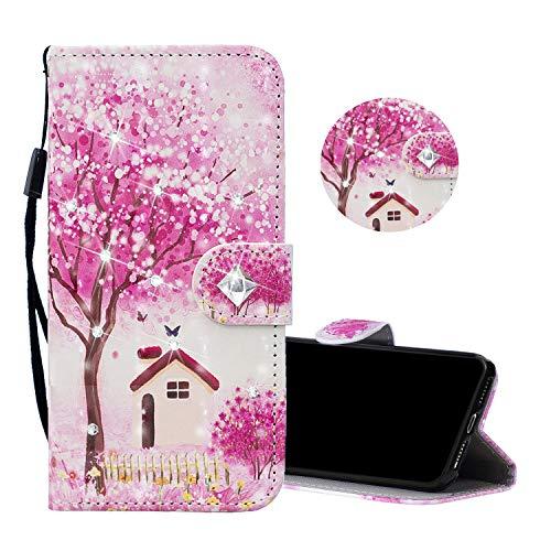 Obesky Glitzer Hülle für Samsung Galaxy A41, Bling Diamant PU Leder Flip Wallet Case Standfunktion Kartensfach Magnetverschluss mit 3D Muster Kirschblüte Haus Design Schutzhülle