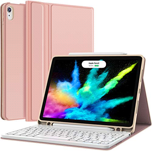iPad Air 4 Keyboard Case (2020 10.9-inch) - Detachable Wireless Keyboard - Pencil Holder - Flip Stand Cover for iPad Pro 11/iPad Air 4 10.9 Inch 2020, Rose Gold