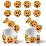 LIVESTN Halloween Zucca Etichette, Adesivi di Halloween 2 Rotolo Adesivo Rotolo Zucca di Halloween per Buste Confezioni Regalo Decorazione bomboniere di Halloween, Feste Halloween (A)