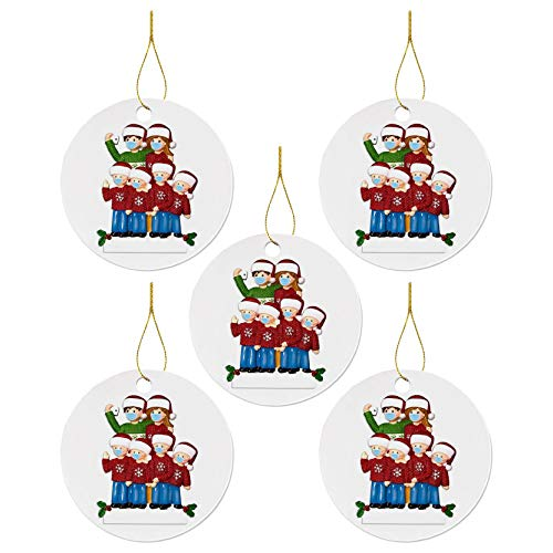 2020 Christmas Hanging Ornament, Creative Survived Famlily Wearing Face Másk Christmas Pendant for Xmas Tree Decoration, Quarantine Christmas New Year Party Decoration Gift Sovenir (White, 5pcs)
