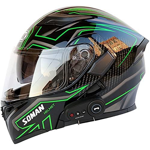 SCDJK Casco Bluetooth Multifunción Flip Helmet D.o.t Certificado Anti-Fog Lente De Doble Capa Bluetooth 5.0 Casco(Color:Verde)