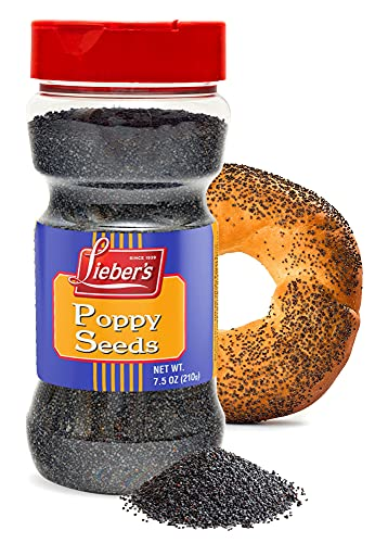 Lieber's Poppy Seeds – Natural Poppy Seeds for Baking – Poppy Seed Pack for Cooking – Whole Large Poppy Seeds for Cake, Buns, Bagels, Rolls – Premium Bulk Poppy Seeds – 7.5 oz