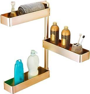 ZHAOHUI 浴室用ラック スペースアルミ 回転可能 高さ調節可能 ドレイン カビ防止 さび止め、 パンチ取り付け (色 : ゴールド)