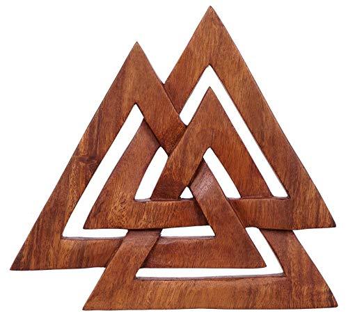Windalf asatru Pared decoración Valknut H: 24cm wotans Nodos Odin Deko Mano de Madera