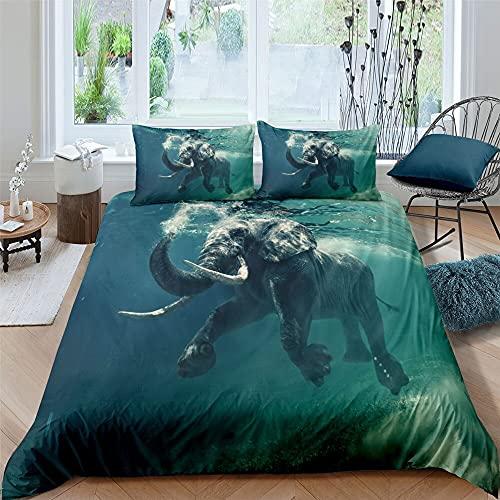 Zqylg Trendy Bedding - Juego de cama con diseño de elefante, elefante y trompas, multicolor, safari, africano, animales salvajes, funda nórdica de 135 x 200 cm, poliéster y algodón (03,135 x 200)