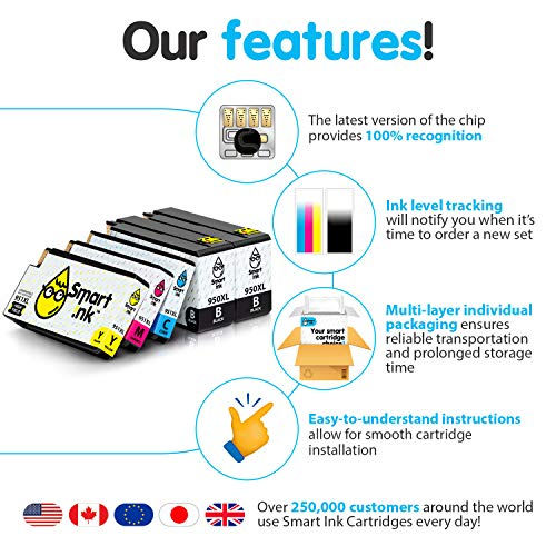 Smart Ink Compatible Ink Cartridge Replacement for HP 951 XL 950 XL (2BK&C/M/Y 5 Pack Combo) for Officejet Pro 8100 8110 8600 8600 Plus 8600 Premium 8610 8620 8615 8616 8625 8630 8640 8660 251dw 276dw Photo #6