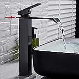 BDWS Grifo para lavabo de baño caliente/frío, cromo/negro/cepillado monomando...