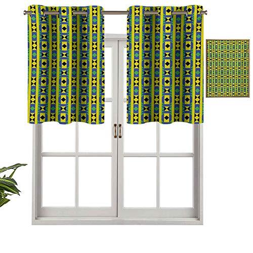 Hiiiman Cortinas opacas con ojales y bordes verticales geométricos, diseño de Kenia nativa con triángulos, juego de 2, 137 x 91 cm para sala de estar, dormitorio, decoración del hogar