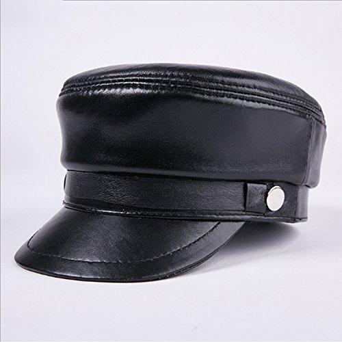 Fashion Sombrero Moda Cuero Estudiante Gorra Plana Gorro de Piel de Oveja Gorro de otoño e Invierno Comfortable (Color : Black, Size : XL)