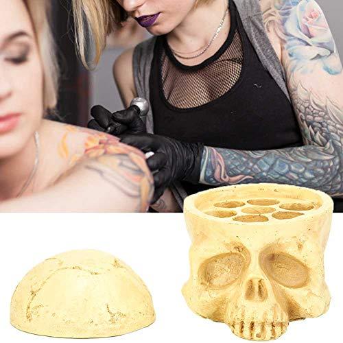 Porte-colle de faux cils, porte-encre de crâne, porte-gobelet d'encre de tatouage 7 trous Kit de tatouage de conteneur de pigment en forme de crâne pour extension de cils Porte-colle de faux cils