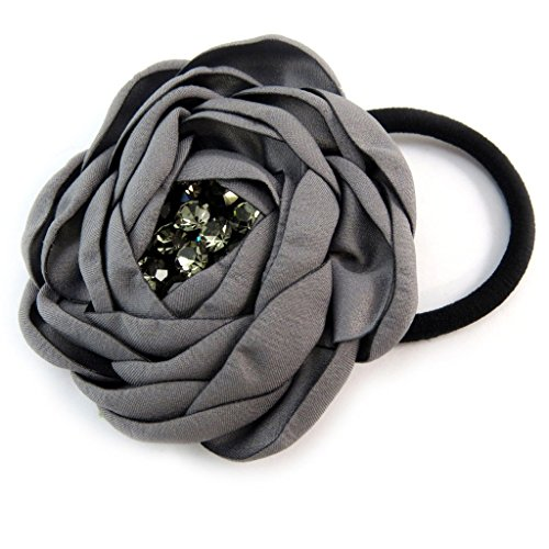 Les Trésors De Lily [P6087] - Elastique/Chouchou créateur 'Sissi' gris (satin) - 65 mm