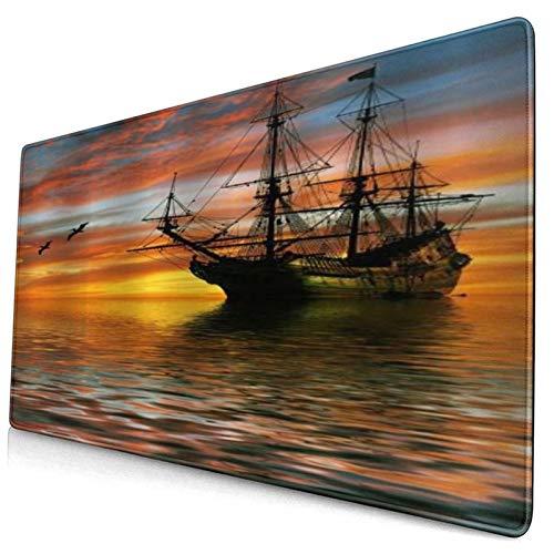 WINCAN Alfombrilla Raton,Barco pirata navegando en el océano con Sun Rising Over el horizonte seguido por gaviota en el aire popular náutica,Alfombrilla Gaming Alfombrilla para computadora con Base de