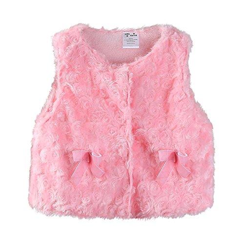 Mud Kingdom Baby Girls Vests Outerwear Faux Fur Fleece 6M Pink