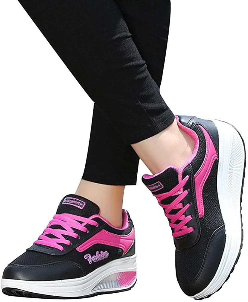 Hbeylia Platform Fashion Sneakers For Women Waterproof Leather Fashion Casual Lace Up Chunky Bottom High Heels Walking Running Hiking Athletic Sport Shoes Fall Low Top Skateboard Play Sneakers