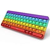 Yefun Push Bubble Sensory Fidget Toy, Aliviar la Ansiedad Juguetes, Teclado de Silicona de Color Arcoíris para Niños y Adultos (Rainbow-Teclado)