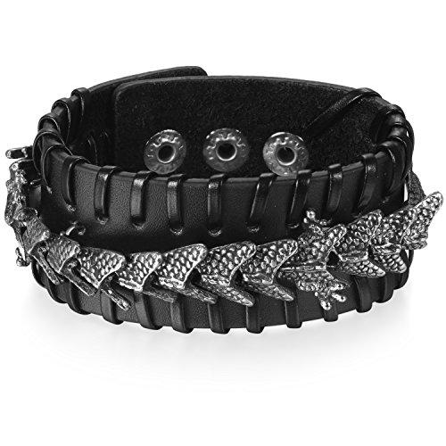 JewelryWe Schmuck Herren Breites Biker Lederarmband, Gotik Punk Rock Drache Geflochten Leder Armband Armreif, Verstellbaren Größen, Schwarz Silber