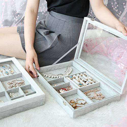 Drametree Boîte à bijoux en verre anti-poussière boîte de rangement boucles d'oreilles montre boucles d'oreilles collier accessoires for cheveux Bracelet bague bijoux boucles d'oreilles présentoir cad