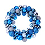 Christmas Wreath Ball Ornaments Shatterproof Front Door Window Hanging Xmas Decoration for Holiday Event Indoor Outdoor Use (Silver and Blue) Unisex