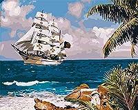 ナンバーキットによるDIYデジタル絵画絵画DIY油絵具大人の白いセーリングボート子供初心者クリスマスアーティストホームギフト40x50cmフレームレス