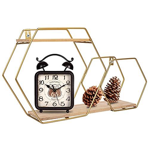 Étagères flottantes hexagonales dorées en nid d'abeille avec support en métal - Étagères murales rustiques en bois massif - Pour salon, chambre à coucher - Doré