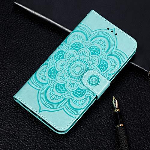 BANAZ Caja del teléfono for modelo de Samsung Galaxy A70 Mandala de grabación en relieve horizontal de cuero del tirón casewith soporte y ranuras for tarjetas y monedero y marco de fotos y la cuerda d