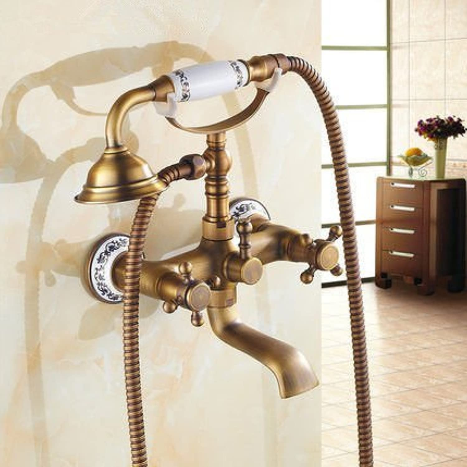 DOJOF Bathroom Sink Faucet Basin Mixer Tap AntiqueHandheld Showers Retro Brushed Shower Brass Hot and Cold Water Basin Sink Tap Bathroom Bar Faucet