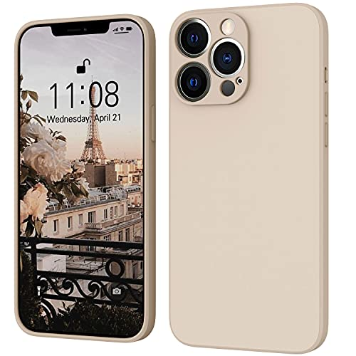 iPhone 13 Pro Hülle Silikon Hülle, ORDA Hanyhülle iPhone 13 Pro Ultra Dünn mit Microfiber, Flüssig Silikon Gel Gummi Kratzfeste R&umschutz Hülle Matt Schutzhülle Hülle für iPhone 13 Pro 6.1'' Khaki