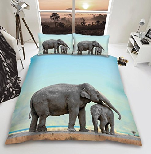 GC New 3D Animal Designs Luxurious Duvet Cover Sets Quilt Cover Sets Reversible Bedding Sets with Matching Pillowcases (3D Elephant, Double)