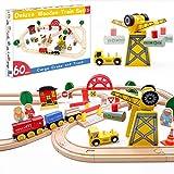 Tiny Land Pista Treno in Legno e Gru e Set Ferrovia in Legno (60 Pcs)
