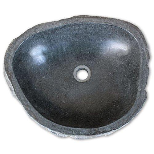 Festnight Oval Waschbecken aus Flussstein Handwaschbecken Waschschale 50 x (40-45) x 15 cm für Badezimmer