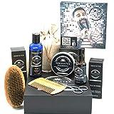 Kit barba uomo professionale 6 pezzi, shampoo da barba, olio da barba, balsamo da barba noto anche come cera da barba e cera per baffi, set regalo uomo, set barba uomo completo