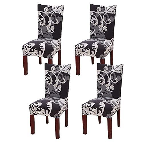 Fundas de silla de comedor de estiramiento de confort con estampado geométrico, fundas de silla de comedor cortas lavables y desmontables para cocina, sillas de oficina (FF,4 Pack)
