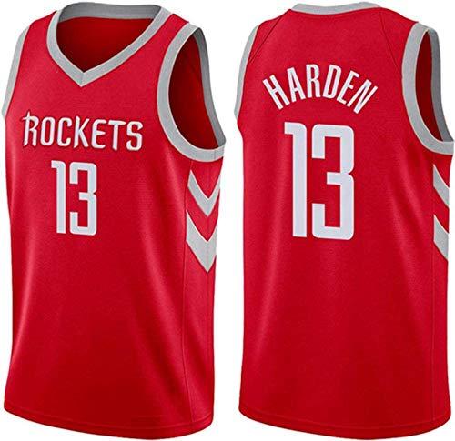 ZMIN Jersey de Baloncesto, Rockets # 13 Harden Uniformes de Baloncesto, Cuello Redondo para Hombres Transpirable Swingman Jersey,Rojo,M 170~175cm