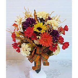 silk florals & frills cemetery flowers with sunflowers, cemetery flowers for fall, cemetery vase with mums silk flower arrangements
