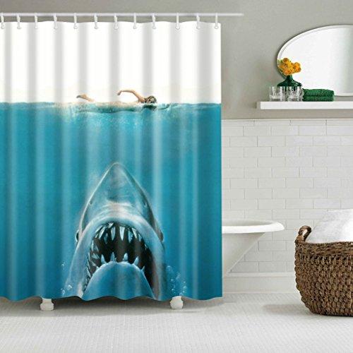 JUNESUN Waterproof Shark Underwater Jaws Polyester Duschvorhang 180x180cm mit Haken