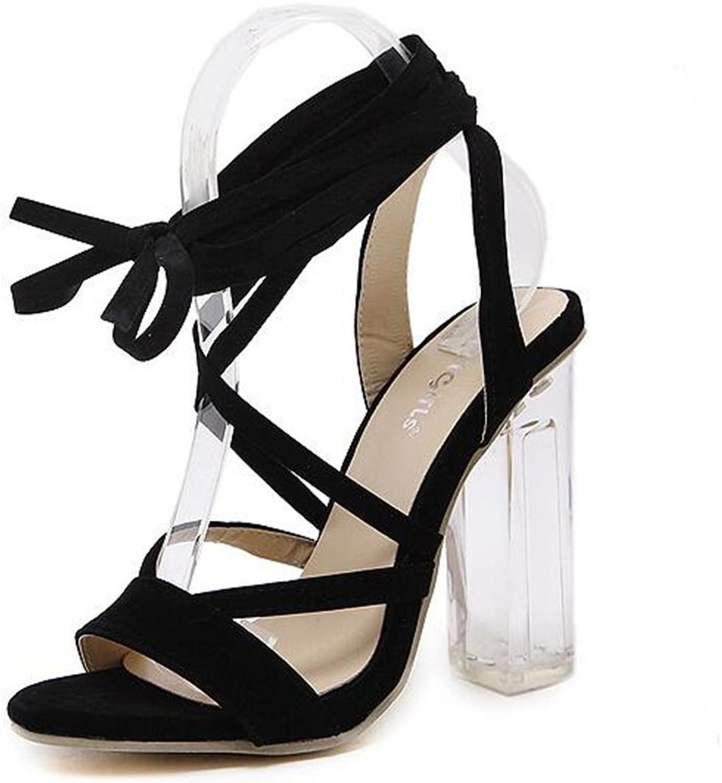 KAOKAOO Women's Sexy Clear Rough-Heeled Sandals Cross Strappy high Heels