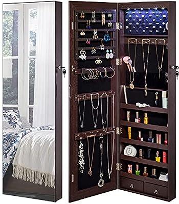 YOKUKINA Jewelry Mirror Armoire Cabinet, Large Storage Organizer w/ LED Light, Door-Hanging/ Wall-Mounted Lockable, brown