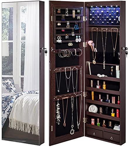 armoire organizers YOKUKINA Jewelry Mirror Armoire Cabinet, Large Storage Organizer w/LED Light, Door-Hanging/Wall-Mounted Lockable, Brown