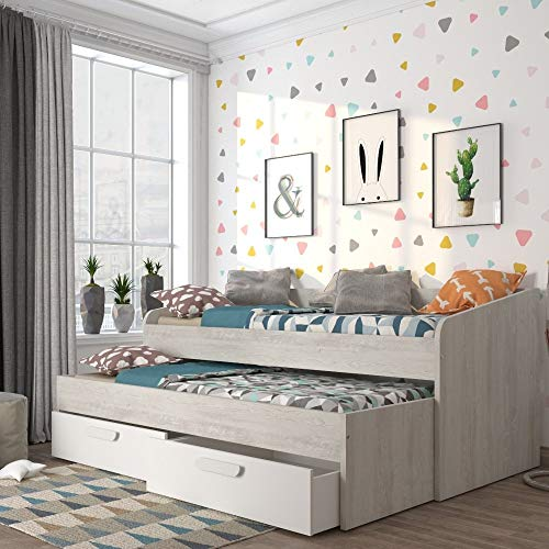 happybeds Wooden Guest Bed, Terrassa Oak and White Day Bed and Trundle European Single with Open Spring Mattresses Included
