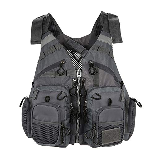 FOUJOY Fishing Vest Retractable Outdoor Working Travel Photo Life Jacket with Multifunction Pockets for Fly Finshing and Outdoor Activities Adjustable Size for Men and Women Under 220lbs (Grey)