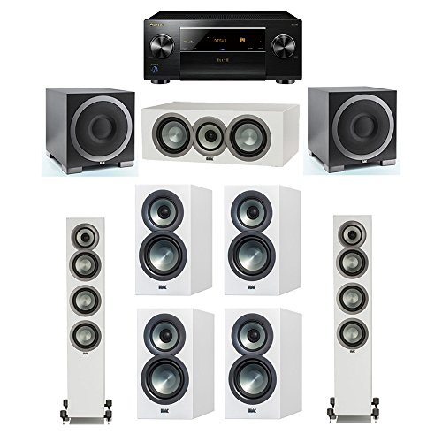 Find Bargain ELAC Uni-Fi Slim White 7.2 System with 2 FS-U5 Floorstanding Speakers, 1 CC-U5 Center S...